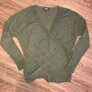 Olive green cross-front Express sweater